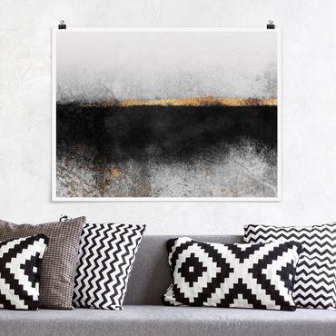 Poster - Abstrakter Goldener Horizont Schwarz Weiß - Querformat 3:4