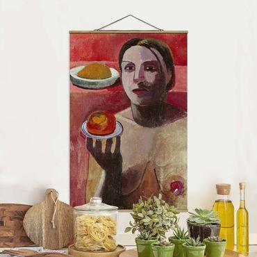 Stoffbild mit Posterleisten - Paula Modersohn-Becker - Halbakt einer Italienerin - Hochformat 2:3