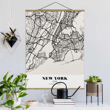 Stoffbild mit Posterleisten - Stadtplan New York - Klassik - Hochformat 4:3