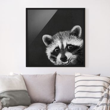 Bild mit Rahmen - Illustration Waschbär Schwarz Weiß Malerei - Quadrat 1:1