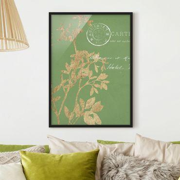 Bild mit Rahmen - Goldene Blätter auf Lind I - Hochformat 4:3