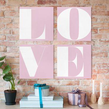 Leinwandbild 4-teilig - Antiqua Letter Love Rosé