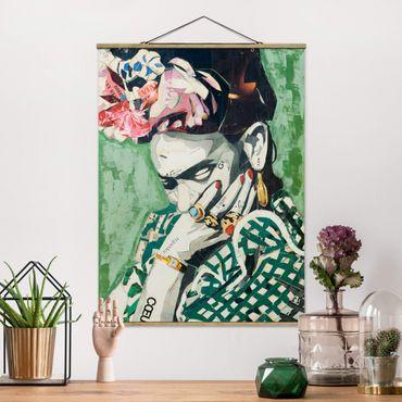 Stoffbild mit Posterleisten - Frida Kahlo - Collage No.3 - Hochformat 4:3