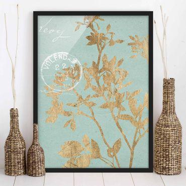 Bild mit Rahmen - Goldene Blätter auf Turquoise II - Hochformat 4:3