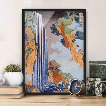 Bild mit Rahmen - Katsushika Hokusai - Ono Wasserfall - Hochformat 3:4