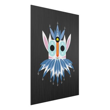 Aluminium Print gebürstet - Collage Ethno Maske - Gnom - Hochformat 4:3