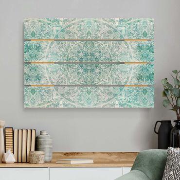 Holzbild - Mandala Aquarell Ornament Muster türkis - Querformat 2:3