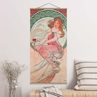 Stoffbild mit Posterleisten - Alfons Mucha - Vier Künste - Die Malerei - Hochformat 1:2