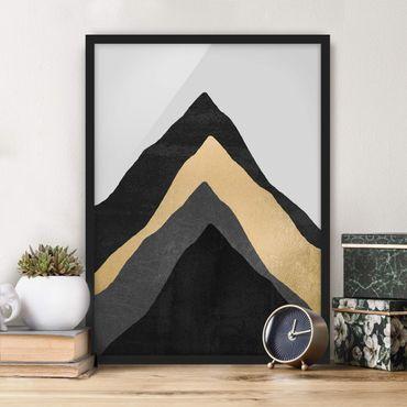 Bild mit Rahmen - Goldener Berg Schwarz Weiß - Hochformat 4:3