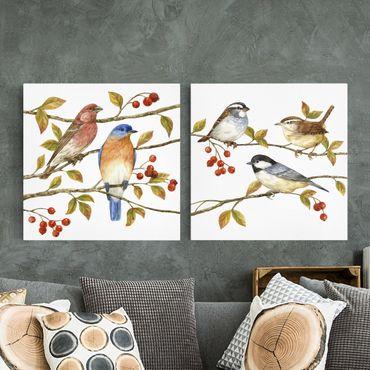 Leinwandbild 2-teilig - Vögel und Beeren Set I - Quadrate 1:1