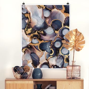 Poster - Marmor Aquarell mit Gold - Hochformat 4:3
