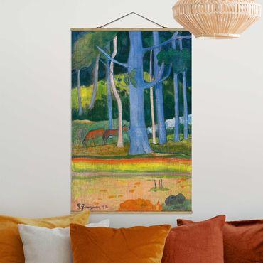 Stoffbild mit Posterleisten - Paul Gauguin - Waldlandschaft - Hochformat 2:3
