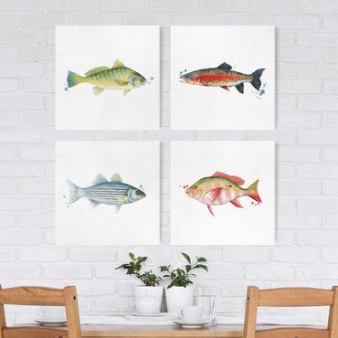 Leinwandbild 4-teilig - Farbfang - Fische Set I