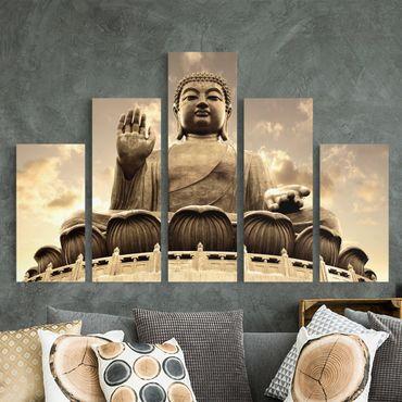 Leinwandbild 5-teilig - Großer Buddha Sepia