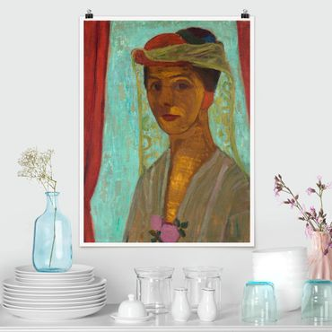 Poster - Paula Modersohn-Becker - Selbstbildnis mit Hut - Hochformat 3:4