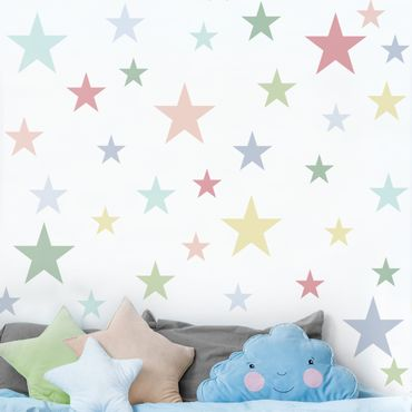 Wandtattoo - 92 Sterne Pastell Set