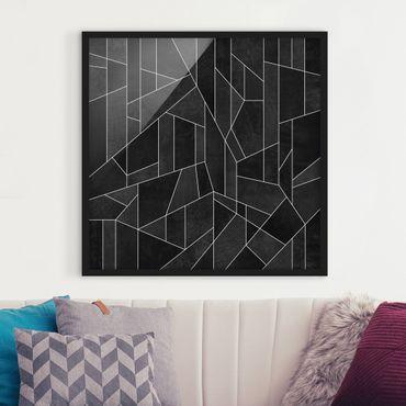 Bild mit Rahmen - Schwarz Weiß Geometrie Aquarell - Quadrat 1:1