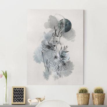 Leinwandbild - Reh und Mond - Hochformat 4:3