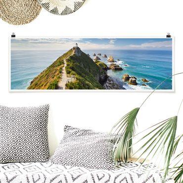Poster - Nugget Point Leuchtturm und Meer Neuseeland - Panorama Querformat