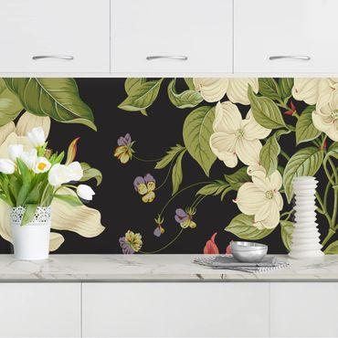 Küchenrückwand - Gartenblumen auf Schwarz I