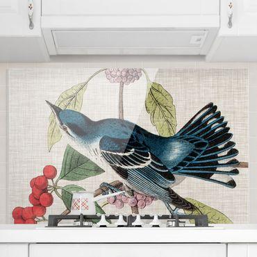 Spritzschutz Glas - Vogel auf Leinen Rosa II - Querformat - 3:2