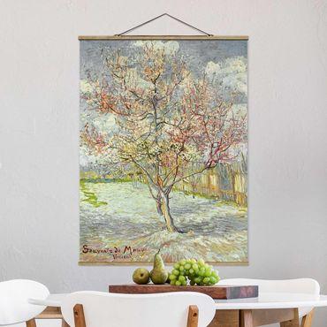 Stoffbild mit Posterleisten - Vincent van Gogh - Blühende Pfirsichbäume - Hochformat 3:4