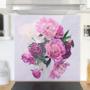 Spritzschutz Glas - Pfingstrosen Shabby Rosa Weiß - Quadrat 1:1