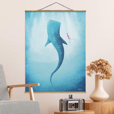 Stoffbild mit Posterleisten - Der Walhai - Hochformat 3:4