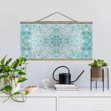 Stoffbild mit Posterleisten - Mandala Aquarell Ornament Muster türkis - Querformat 2:1