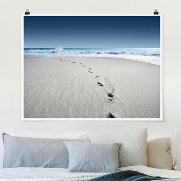 Poster - Spuren im Sand - Querformat 3:4