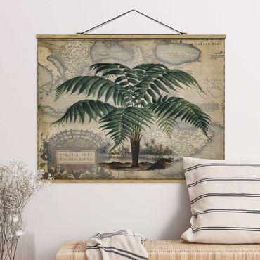 Stoffbild mit Posterleisten - Vintage Collage - Palme und Weltkarte - Querformat 4:3