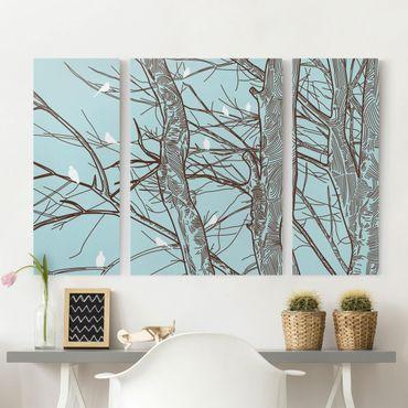 Leinwandbild 3-teilig - Winterbäume - Triptychon