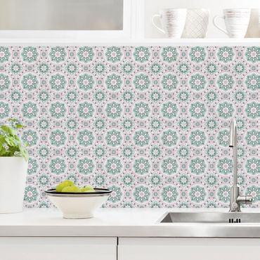 Küchenrückwand - Florale Fliesen türkis-rosa