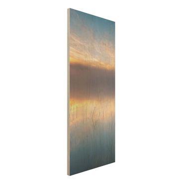 Holzbild - Sonnenaufgang schwedischer See - Panel