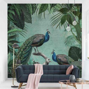 Tapete selbstklebend - Shabby Chic Collage - Edler Pfau - Fototapete Quadrat