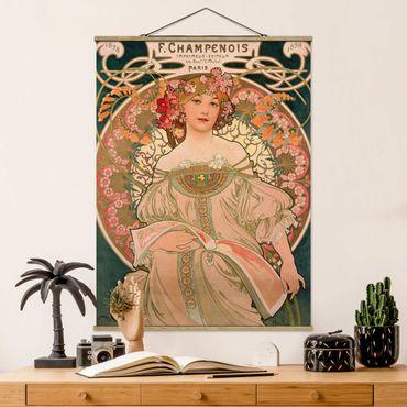 Stoffbild mit Posterleisten - Alfons Mucha - Plakat für F. Champenois - Hochformat 3:4