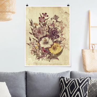 Poster - Vintage Letter Blumenstrauss - Hochformat 3:4