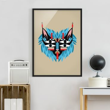 Bild mit Rahmen - Collage Ethno Maske - Löwe - Hochformat 4:3
