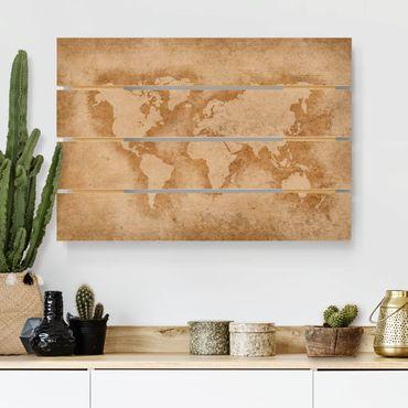 Holzbild - Antike Weltkarte - Querformat 2:3