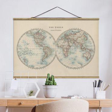 Stoffbild mit Posterleisten - Vintage Weltkarte Die zwei Hemispheren - Querformat 3:2