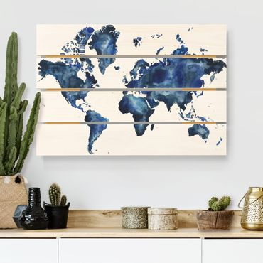 Holzbild - Wasser-Weltkarte hell - Querformat 2:3