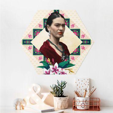 Hexagon Bild Alu-Dibond - Frida Kahlo - Blumen und Geometrie