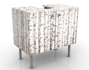 Waschbeckenunterschrank - No.YK15 Birkenwand - Holzoptik Badschrank Weiß