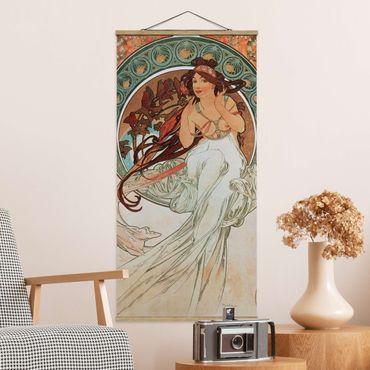 Stoffbild mit Posterleisten - Alfons Mucha - Vier Künste - Die Musik - Hochformat 1:2