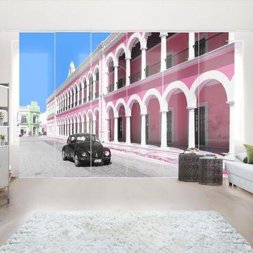 Schiebegardinen Set - Schwarzer Beetle Pinke Fassade - Flächenvorhänge