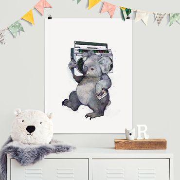 Poster - Illustration Koala mit Radio Malerei - Hochformat 4:3