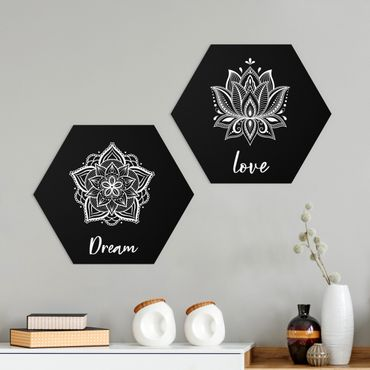 Hexagon Bild Forex 2-teilig - Mandala Dream Love Set Schwarz