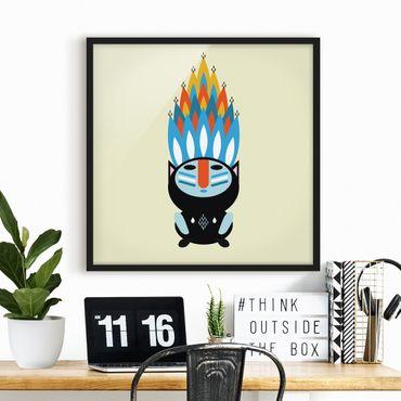 Bild mit Rahmen - Collage Ethno Monster - Feuer - Quadrat 1:1
