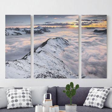 Leinwandbild 3-teilig - Blick über Wolken und Berge - Triptychon