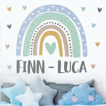 Wandtattoo mit Wunschtext - Regenbogen mit Wunschnamen Blau Türkis